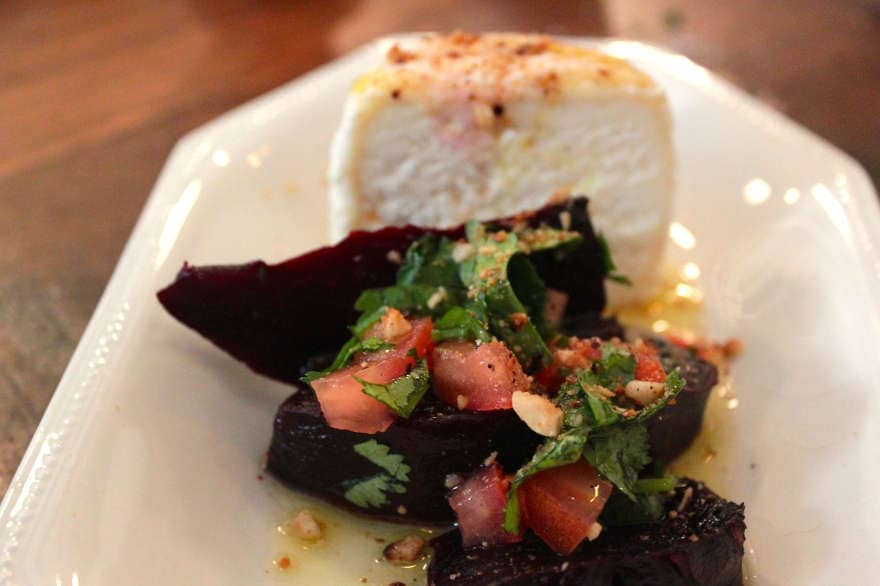 A salad of beetroot with goats cheese